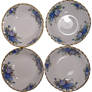 4 Royal Albert Moonlight Rose England Fruit Bowls