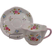 Shelley Cup & Saucer Dainty Rose and Red Daisy Pink Trim England