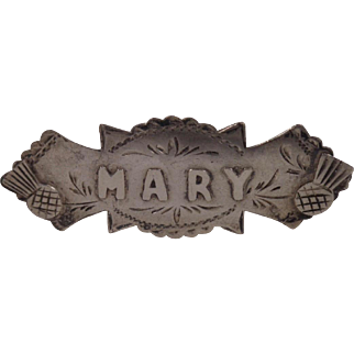 1907 Aesthetic Design & Thistles Sterling Name Brooch MARY J&RG Chester