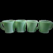 4 Fire-King Jadite D Handle Coffee Mugs Anchor Hocking