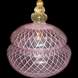 Venetian Art Glass Reticello Lattice Lidded Dish Controlled Bubbles