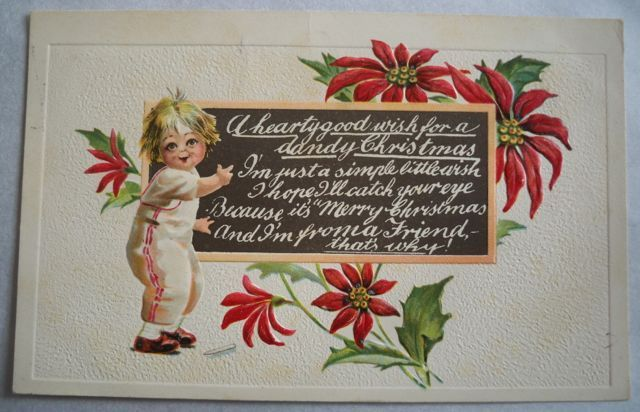 Christmas Postcard Embossed Child Chalkboard 1915 Free Shipping