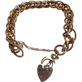 Gold Plated Sterling Double Link Curb Bracelet Heart Lock