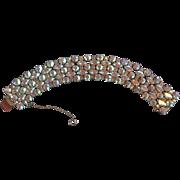 Signed Sherman Aurora Borealis 5 Row Bracelet