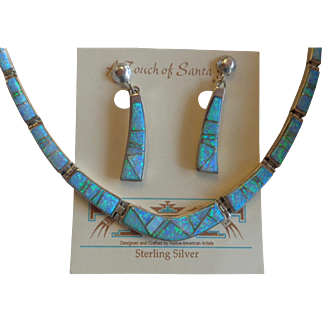 Calvin Begay A Touch of Santa Fe Earrings Necklace Sterling Lab Opal Set