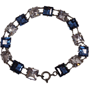Czech Art Deco Facet Cut Blue and Clear Crystal Bracelet Sterling Bezels Free Shipping - Red Tag Sale Item
