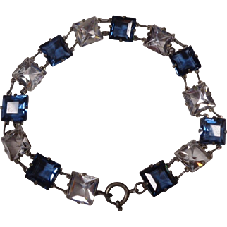 Czech Art Deco Facet Cut Blue and Clear Crystal Bracelet Sterling Bezels Free Shipping