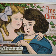 Christmas Postcard Embossed Two Young Girls