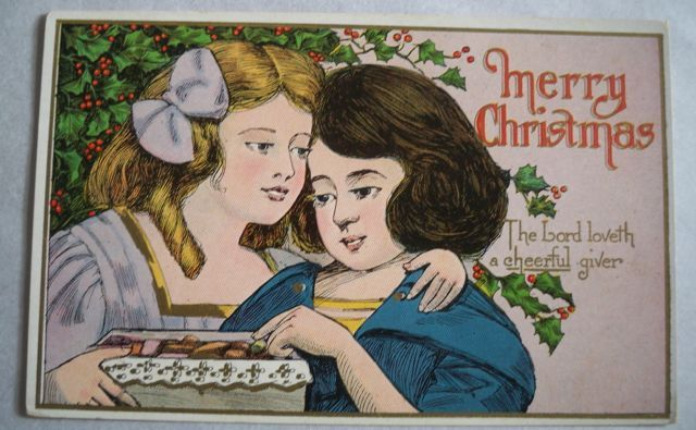 Christmas Postcard Embossed Two Young Girls Free Shipping