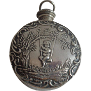 Sterling Silver Double Sided Perfume Pendant Cherub Repousse Free Shipping to Canada & USA