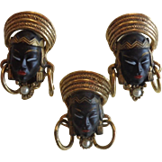 Selro Selini  Black Asian Face Brooch Earrings Set Free Shipping To Canada & USA