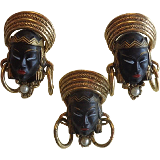 Selro Selini  Black Asian Face Brooch Earrings Set Free Shipping To Canada & USA
