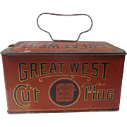 Great West Cut Plug Tobacco Tin Lunchbox Empire Tobacco Co Montreal Canada Free Shipping to Canada & USA