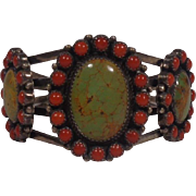 Navajo Hemerson Brown Turquoise & Coral Cuff Bracelet Sterling Pawn Marks