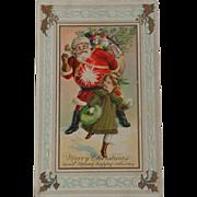 Little Girl Hitting Santa With Snowball Christmas Postcard Free shipping USA & Canada