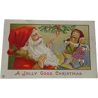 Christmas Postcard Santa Elf Dancing With Doll Free Shipping