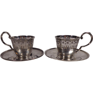 Two Sterling Demitasse Cup & Saucers Watson Co Mass No Liners