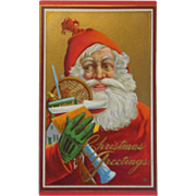 Vintage Christmas Postcard Santa Christmas Greetings