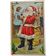 Vintage Christmas Postcard  Embossed Santa Small Child Sack of Toys