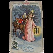 Vintage Christmas Postcard  Embossed Angel Donkey Toys