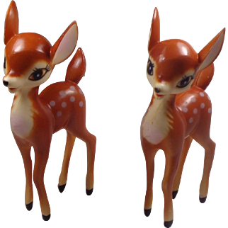 Pair of Hard Plastic Christmas Reindeer Decorations