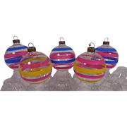 USA War Time Striped Glass Christmas Ornaments