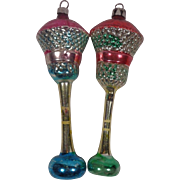 Two Glass Christmas Ornaments - Street Lantern Lights