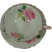 Paragon Mint Green Pink Roses White Gold Trim Cup & Saucer