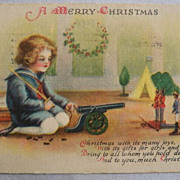 Clapsaddle Christmas Postcard Child Toy Soldiers Cannon Free Shipping