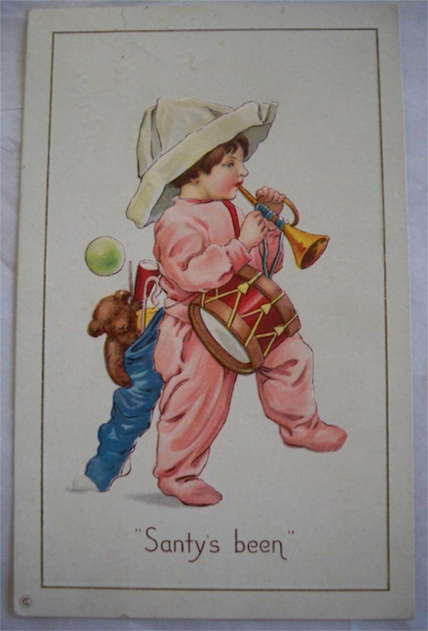 Vintage Christmas Postcard 1916 Embossed  Child Toys Pyjamas Free Shipping