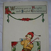 Vintage Christmas Postcard 1919 Embossed  Child Horn Candycane Free Shipping