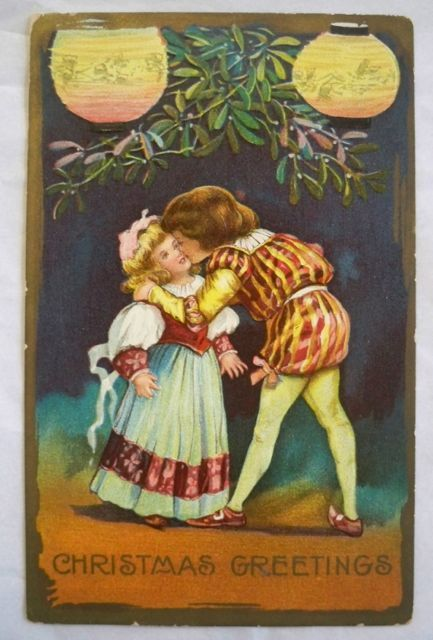 Vintage Christmas Postcard Embossed  Children Kissing Free Shipping