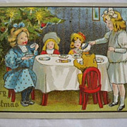 Vintage Christmas Postcard Embossed  Children Tree 1908 Free Shipping