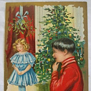 Vintage Christmas Postcard Embossed  Children Tree Mistletoe Free Shipping