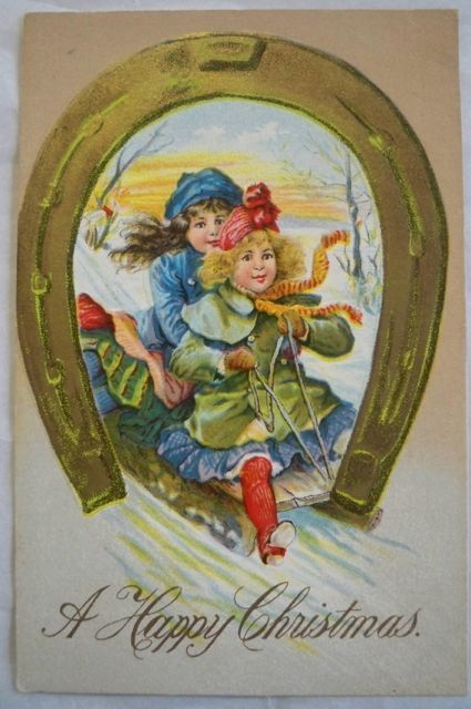 Vintage Christmas Postcard Embossed  Little Girls Sled Horseshoe Free Shipping