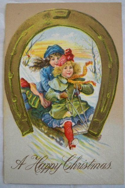 Vintage Christmas Postcard Embossed  Little Girls Sled Horseshoe
