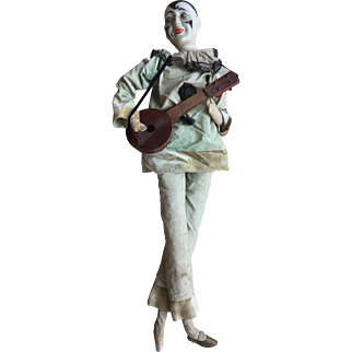 Pierrot Boudoir Doll, clown with Mandolin and music box