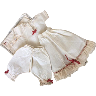 Early french poupée, handmade underwear set