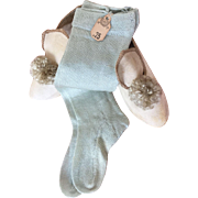 Aqua blue doll socks with original 'Wanamaker' departmentstore price tag