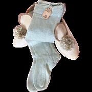 Aqua blue doll socks with original 'Wanamaker' departmentstore price tag