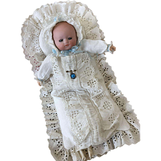 Fantastic bisque tiny baby doll, all original condition