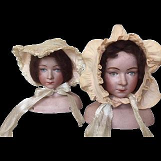 Green eyes _ bisque character shoulderhead doll by De Fuisseaux, Belgium