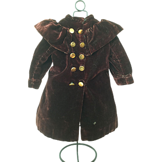 Antique velvet, brown/burgundy doll coat