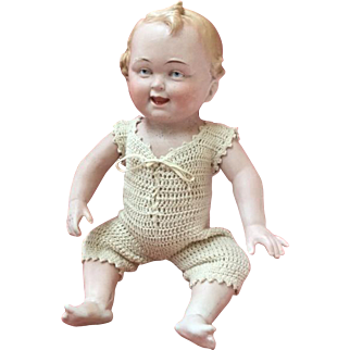 Large size, laughing, German all-bisque character baby