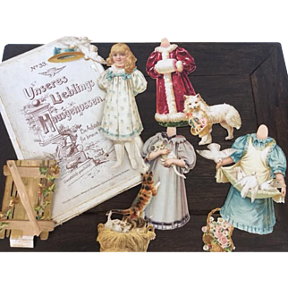 "8 "" Victorian paper doll _ 3 dresses with cats, dog and pigeons"