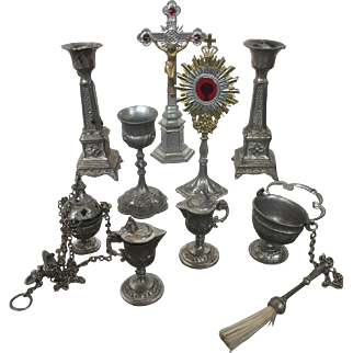 Great French pewter items for liturgical play ( 1900)