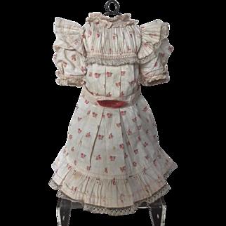 Authentic Jumeau, original factory flowered dress, size 11 !