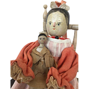 19 cm Grodnertal doll with her little sister