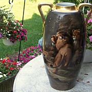 "Spectacular 1900's Hand Painted ""Lion & Lioness"" 17-1/2"" Vase by the Pickard Artist, ""Adolph Heidrich"""