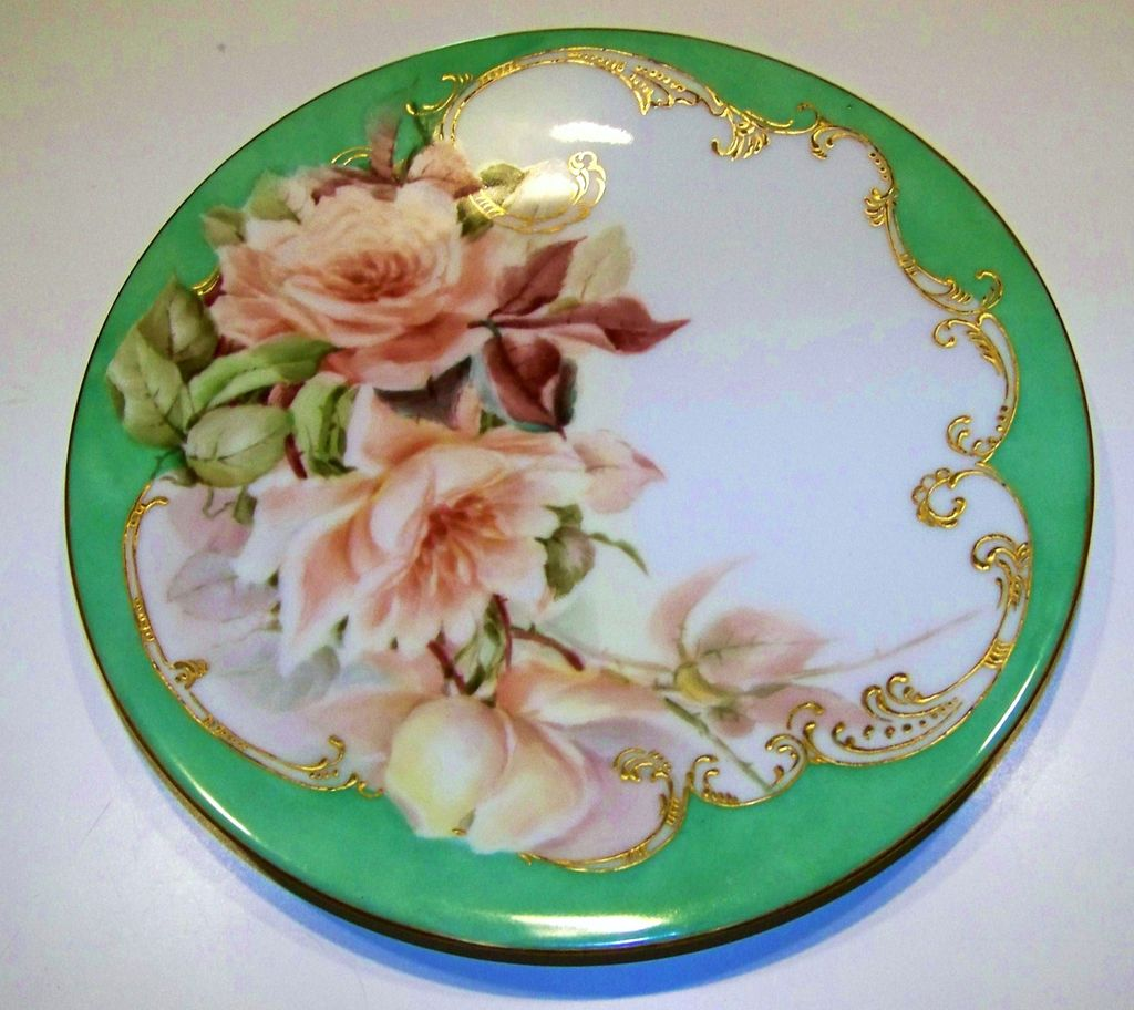 "T & V Limoges, France 1897 Hand Painted ""Peach Roses"" 9-1/4"" Teal Green Plate by Artist, ""H.C."""
